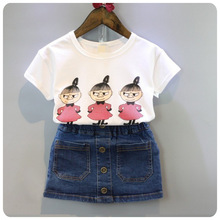 Summer 2017 the skirt and top Kids Wearing Girl's t-shirt  Denim Skirts baby girl  Two Piece set Children's Clothing Sets