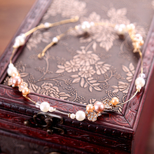 50cm Long Vintage Imitation Pearl Headband For Bridal Wedding Hair Jewelry Women Hair Accessories Gold Color Headpiece(China)