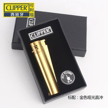 Spain Clipper Lighters,Creative metal jet windproof butane flame gas cigarette lighter Gift Box(China)