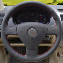 Hand-stitched Black Leather Steering Wheel Cover for Volkswagen Old VW Golf Polo Sagitar Lavida 2010 Polo