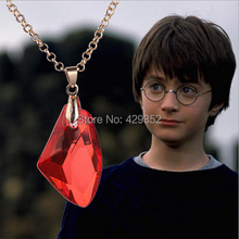 Wholesale Movie Jewelry Harry The Sorcerer's Red Crystal Magic Philosophers Stone Necklace Fashion Popular Jewelry 20PCS/LOT(China)