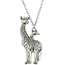 Fashion 52*18mm (2.05*0.71 inches) Mother And Son Giraffe Pendant Short/Long Chain Necklace Jewelry For Women