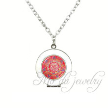 Red and Purple Mandala Locket Pendant Flower of Life Necklace Class Silver Plated Statement Chain Necklaces Jewelry Accessories(China)