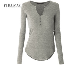 Buy JLI MAY Women casual slim tops cotton v-neck long sleeve solid autumn winter bottoming shirt plus size t-shirt womens clothing for $15.99 in AliExpress store
