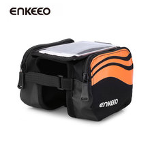 Enkeeo Front Tube Bike Bag Water Resistant Nylon Fabric bicycle bag with Cell Phone Top Case Pouch 2-Side Pockets Sealed Zipper