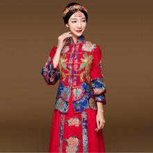 Blue Red Cheongsam wedding dress For Overseas Chinese Women Vestido Oriental Collar Sexy Long Qi Pao Party Show opening ceremony