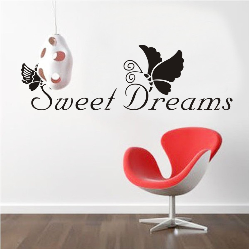 DIY Butterfly Sweet Dreams Quotes Wall Stickers Living Room Poster Bedroom Kitchen Mural Vinyl Decoration Decal Home Decor Mural(China (Mainland))