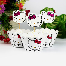 Kawaii 12 pcs Toppers +12 pcs Wrappers Hello Kitty Cute Cake Decorations For Kids Cartoon Birthday Party Supplies(China)