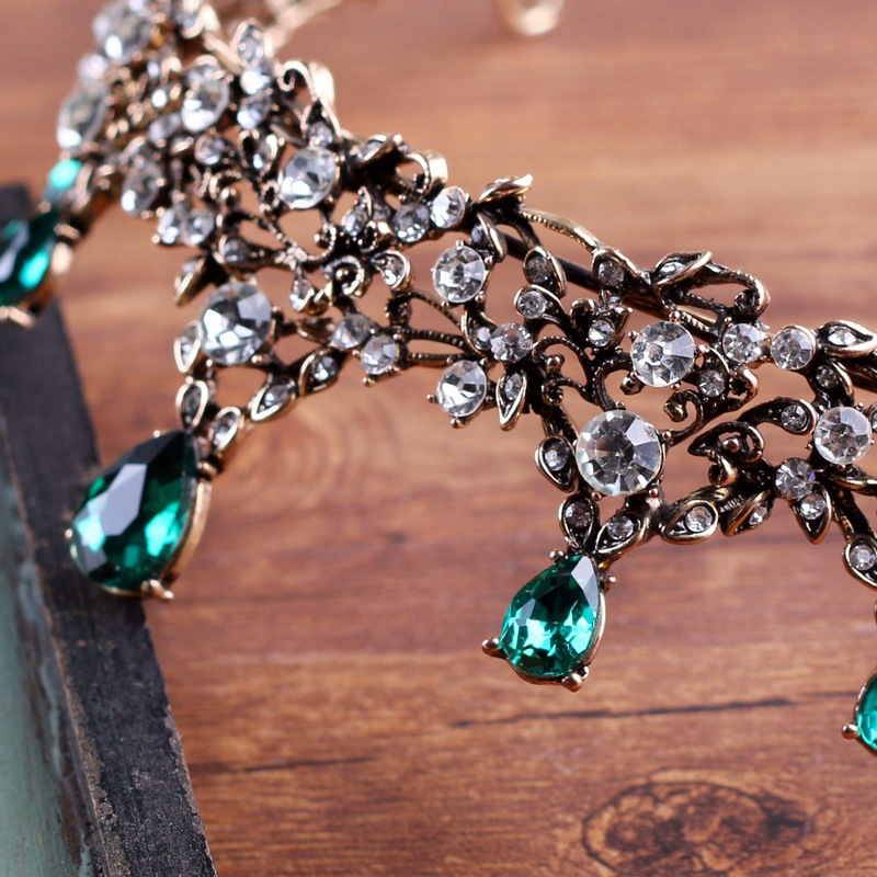 copper green crystal elegant bridal crown coroa de noiva boutique brides headwear wedding hair jewelry 1