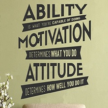 Motivational Wall Sticker Quote Ability Motivation Attitude Motto Positive Vinyl Wall Decal Design Saying Meaningful Home Decor(China)
