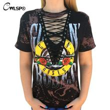 CWLSP 2017 GUN N ROSES Print T Shirt Women American Rock Music Festival Tops Hollow Out V Neck Tees lace up kawaii t-shirt(China)
