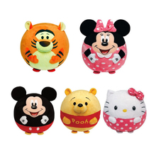1pcs Baby Cartoon Rattle Toys Animal Hand Bells Hello Kitty Minnie Plush Filled Sponge Ball Handbell High Quality