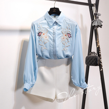 Embroidery woman blouse 2017 spring summer fashions long sleeve women's summer clothing white blue S701A-034