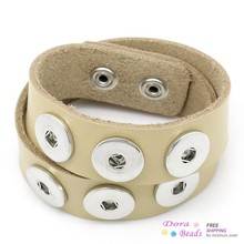 8SEASONS Real Leather Copper Buckle Nice Bracelets Khaki Fit Snaps Nice Buttons 47.5cmx2.4cm,1 Piece (B27917)