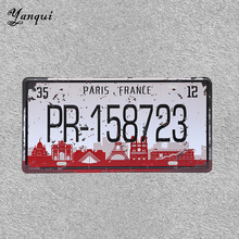 Paris France PR-158723 Number Car Licence Plate Retro VW Bus Bar Family Gas Service Wall Metal Sign Decoration YQ082