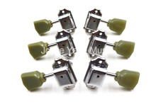 Chorme Retro Tulip Trapezoid Jade Green Button EPI GB Guitar Tuning Pegs Tuners Machine Head 3L+3R Free Shipping(China)