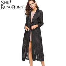 Buy SheBlingBling Elegant Long Sleeve Turn Collar Lace Trench Coat Fashion Women Long Trench Cardigan Coats Belts for $22.00 in AliExpress store