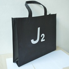 500pcs/lot  32*39*8cm Black bag,non woven shopping bag with one color print.