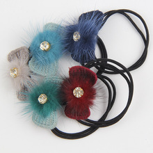 New 5 Colors Bowknot Crystal Girl Child Hair Band Elastic Hair Headdress Jewelry Clip Knit Wool Ring Elastic Head Rope Accessory(China)