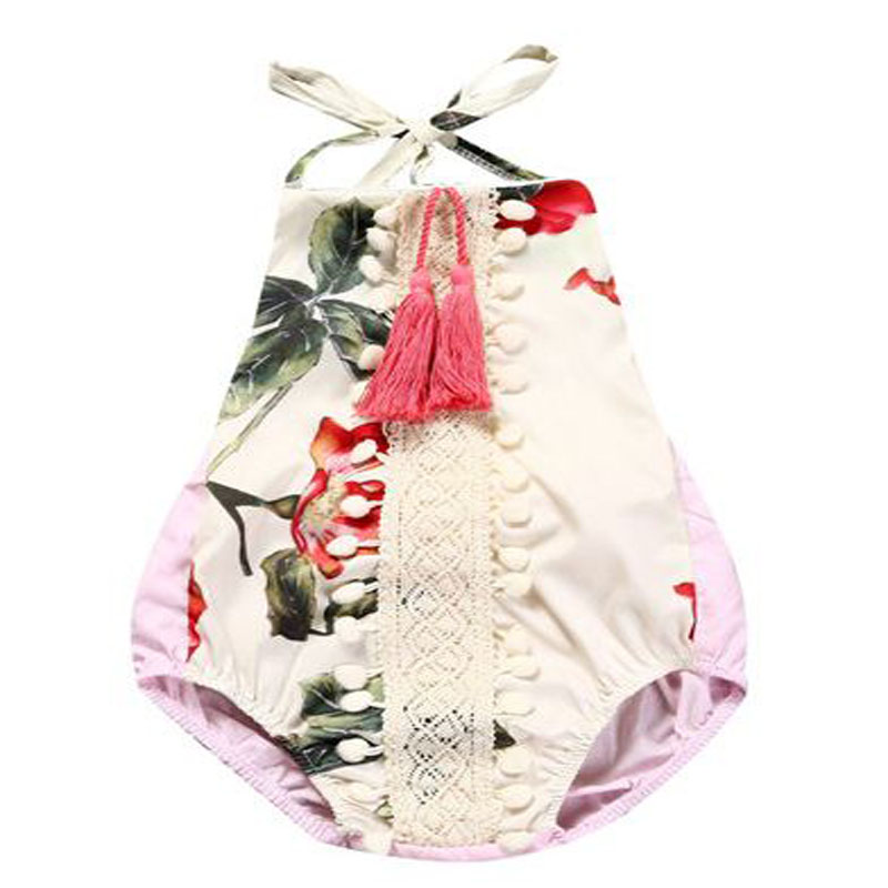 baby girl clothes cotton halter belt O-neck Sleeveless tassel one-piece rompers outfits infantil newbron baby sunsuit Beach Suit