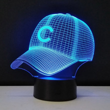Baseball cap Nightlight engraved acrylic Table Lamp Colorful 3D stereo led lights Living Room Decorative Luminaria Kids Gifts(China)