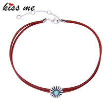 KISS ME Red Imitation Leather Vintage Choker New Popular 2017 Flowers Necklaces for Women Fashion Jewelry