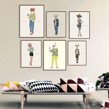 Nordic Canvas Painting Fashion Design Show Designers Poster Creative Hipster Animals Wall Picture For Home Decoration Paintings(China)