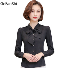 2017 New Arrival Spring Summer Bow Collar Long Sleeve Women Shirt Slim Formal Office Lady Blouses Fashion Basic Tops Blue Black(China)