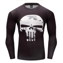 AAA Hot 2017 Punisher Flash Superman/Batman Men Long Sleeve Bodybuilding T Shirt G ym Compression Tights Tops Fitness T-shirt(China)