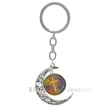 Trendy colored Decorative Cross keychain popular god Jesus Religious belief faith key chain life Hope Love Charm key ring T588