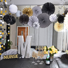 Pack of 22 Graduation Party Decor Set Paper Fan Rosettes Pleated Paper Lanterns Foil Swirls Tissue Pom Poms Wedding Birthday(China)
