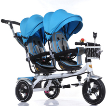 Updated good quality back seat lie dow Twins child tricycle bike double seats tricycle trolley baby bike for 6monthes to 6 years
