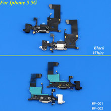 5PCS Black/White USB Charger Dock Connector Plug Flex Cable With Headphone Jack For Iphone 5 5G Replacement Power Port(China)