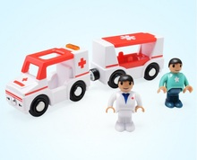 Ambulance car Scene toy combination Compatible Thomas wood track with 2 Figures
