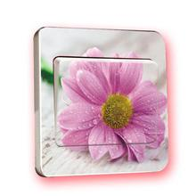 1 PCS Purple Flowers Closed Arrival Modern Sticker Switch Wall Sticker Home Decoration Accessories Wall Appliques(China)