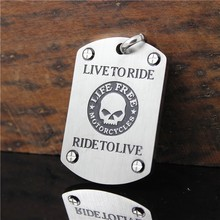Drop Ship Live To Ride Biker Pendant 316L Stainless Steel Polishing Cool Men Silver Skull Pendant