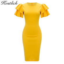 Kostlich 2017 Elegant Women Party Dresses O-Neck Double Ruffles Short Sleeve Bodycon Dress Back Zipper Solid Yellow Summer Dress(China)