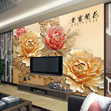 Custom 3d photo living room TV background wall wallpaper Chinese 3D three-dimensional relief peony sofa wallpaper rich flowers