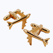 Hot sale Men's jewelry Plane Cufflinks hot seller silver color fashion silver airplane design copper material gift(China)