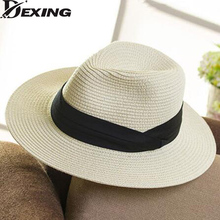 [Dexing]Summer sea sun hat men casual vacation Panama straw hat women wide brim Beach jazz hats Foldable Chapeau(China)