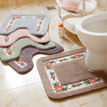 Cheap 1PC Shower Pad Mat Rug Bathroom Mats Set Coral Velvet Soft Toilet Pattern Carpet Bathroom Toilet Non-slip Bath Mats