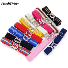 HooltPrinc Free Shipping Candy Color stripe 1 Inch Wide Kids Children Elastic Waist Belt For Boys Girls(China)