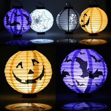 Pumpkin LED Light Tissue Paper Lantern Halloween Hanging Craft Lamp Festival Halloween Party Decoration Lantern Supplies(China)