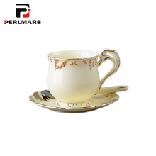 2PCS/Lot 150ML Creative Ceramic Porcelain Coffee Milk Cup with Spoon Saucer Kit Gold Pattern Royal Black Tea Cup Home Drinkware(China)