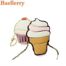 2017 Cartoon Cupcake Women Ice Cream Pattern Bag Lady Mini Leather Chain Clutch Crossbody Bag Girl Shoulder Cute Messenger Bag