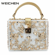 Vintage Women Gold Diamond Messenger Bag Hollow Relief Acrylic Handbags Plastic Evening Bags Party Clutch Purse Shoulder Bag