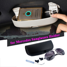 Car Sunglasses Storage Box Holder Case For Mercedes Benz w203 w204 w124 w212 w205 w220 w176 w213 w201 AMG CLA A ML GLA CLK Class(China)