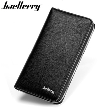 BAELLERRY Men Wallets Long Design Man Clutch Bag PU Leather Purse Fashion Zipper Wallet Male Phone Card Holder Best Gift HQB1807(China)
