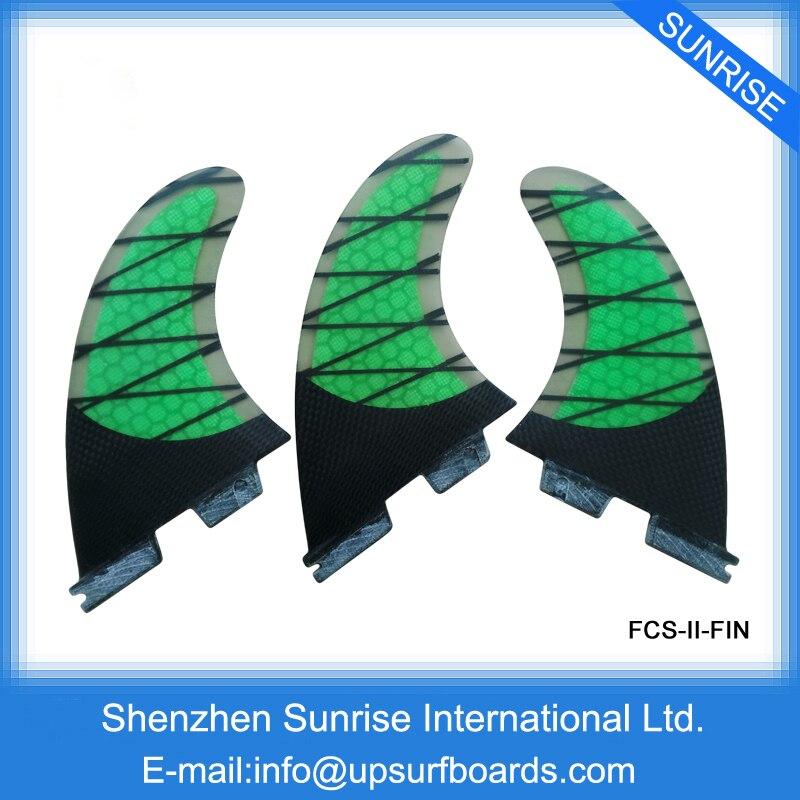 Surf Fins Green FCS2 Fins Carbon Fiber Fins Honeycomb FCSII Base Free shipping<br>