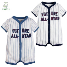 NNW 2017 Baby Boy Official Baseball Summer Romper  Short Sleeve Cloth Outfit Set 100% Cotton Blue Stripe